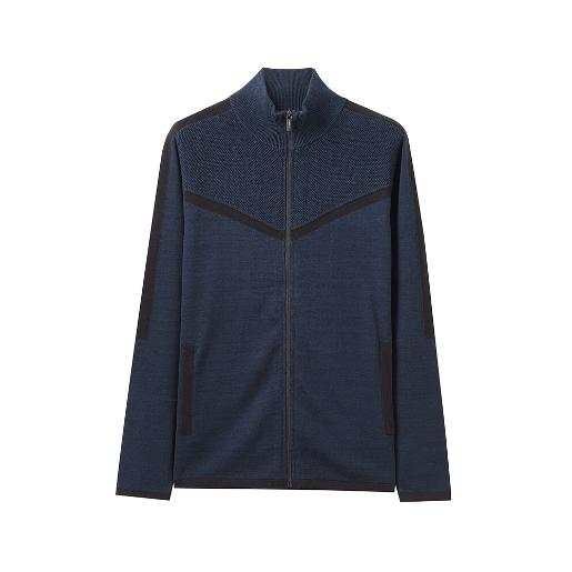 Combed cotton fabric. Mock neck, regular fit full zip cardigan. Contrast details gives a trendy look. Cotton fabric offers enhanced comfort and reduce tendency of pilling.