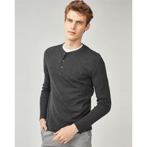 Thick waffle henley neck tee