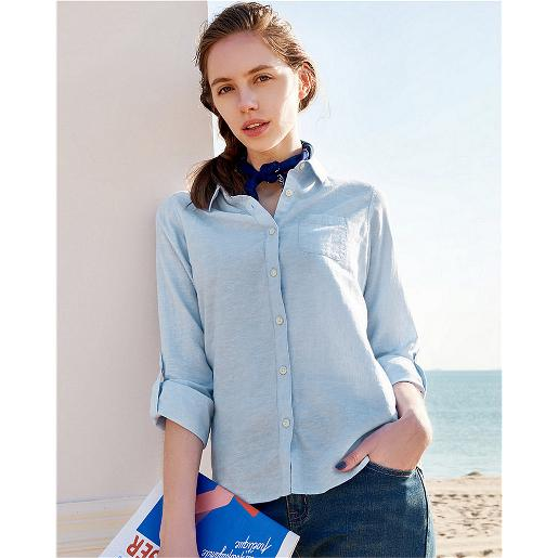 Women Linen Cotton Rollup Shirt