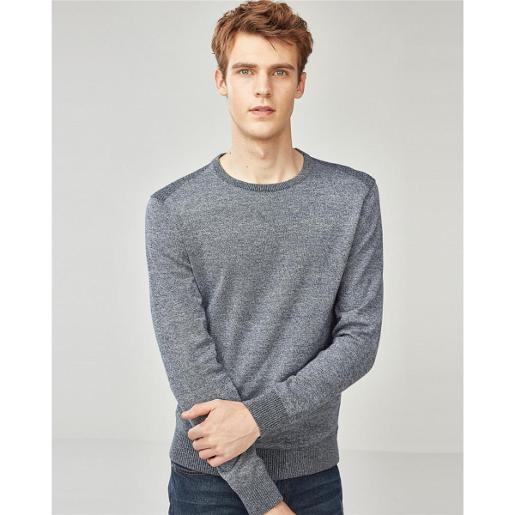 Men's Combed Contrast Pullover Sweater