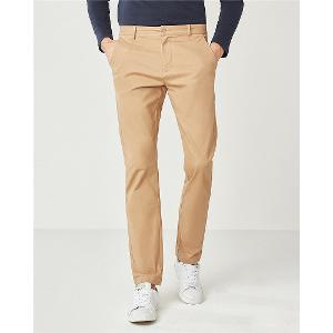 Stretchy solid mid rise casual pants