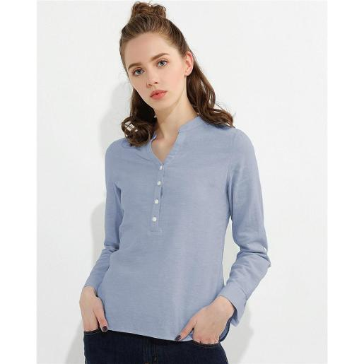 Women Linen Cotton Half Placket Shirt